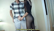 Rising Business Executive In See Through Body Stockings