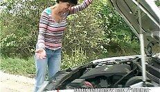 Brunette Mature Fucks her Young Lad Samaritan