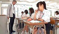 Classy Japanese schoolgirl seduces teachers twat with scream