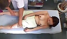 Asian Teen From Behind On Massage Table