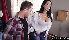 Stepmom with big tits sucks and fucks stepson while dad is downstairs