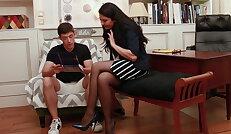 Seductive librarian Mariska seduces student